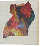 Uganda Watercolor Map Wood Print