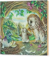 Ugly Duckling - Dragon Baby And Owls Wood Print