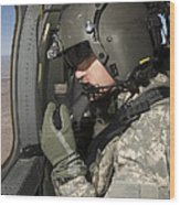 Uh-60 Black Hawk Crew Chief Looking Wood Print