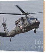 Uh-60a Black Hawk Medevac Helicopter Wood Print