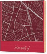 Uh Street Map - University Of Houston In Houston Map Wood Print
