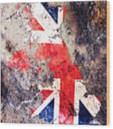 Uk Flag Map Wood Print