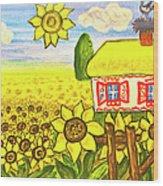 Ukrainian House With Sunflowers Wood Print
