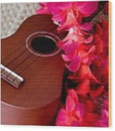 Ukulele And Red Flower Lei Wood Print