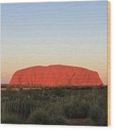 Uluru At Sunset Wood Print