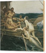 Ulysses And The Sirens Wood Print
