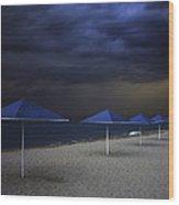 Umbrella Blues Wood Print