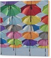 Umbrella Rainbow Wood Print