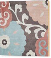 Umbrella Skies II Suzani Pattern Wood Print