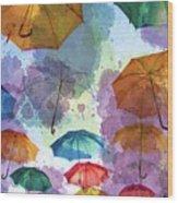 Umbrella Sky Wood Print