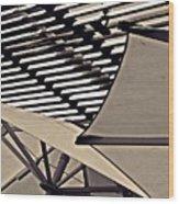 Umbrellas Sepia Wood Print