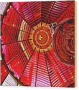Umpqua River Lighthouse Lens In Hdr Wood Print