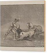 Un Caballero Espanol Mata Un Toro Despues De Haber Perdido El Caballo (a Spanish Knight Kills The Bull After Having Lost His Horse) Wood Print