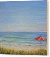 Un Parasol Rouge Wood Print