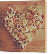 Uncooked Heart-shaped Pasta Wood Print by Julia Davila-Lampe