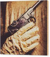 Undead Mummy  Holding Handgun Against Wooden Wall Wood Print