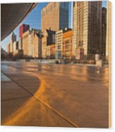 Under The Bean And Chicago Skyline At Sunrise Wood Print