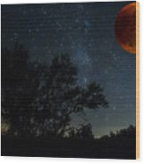 Under The Blood Moon  Wood Print