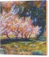 Under The Blossom Trees Sold Wood Print