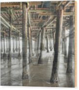 Under The Boardwalk Into The Light Wood Print