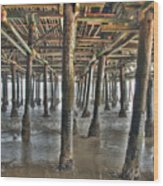 Under The Boardwalk Pier Sunbeams  Wood Print