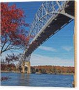 Under The Bourne Bridge Wood Print