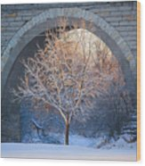 Under The Bridge, A Winter's Song Wood Print