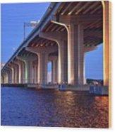 Under The Bridge With Lights 01175 Wood Print
