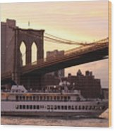 Under The Brooklyn Bridge  Wood Print