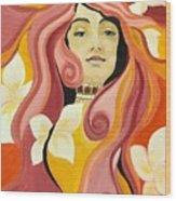 Under The Influence Of Alphonse Mucha Wood Print