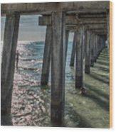 Under The Naples Pier Wood Print