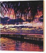 Under The Palms Sunrise Wood Print