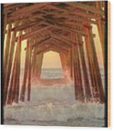 Under The Pier At Dawn Wood Print