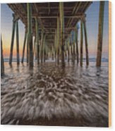 Under The Pier At Old Orchard Beach Wood Print