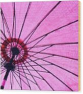 Under The Pink Umbrella Wood Print