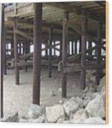 Under The Santa Barbara Pier Wood Print