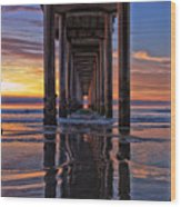 Under The Scripps Pier Wood Print