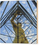 Under The Tulsa Driller - Oklahoma Iconic Statue Wood Print