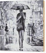 Under The Umbrella - Ballpoint Pen Art Wood Print