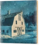 Under The Vermont Moonlight Watercolor Wood Print