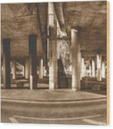 Under The Viaduct B Panoramic Urban View Wood Print