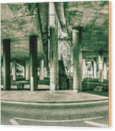 Under The Viaduct C Panoramic Urban View Wood Print