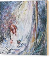 Under The Waterfall Wood Print