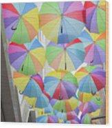 Under Umbrellas Wood Print