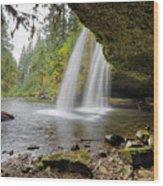 Under Upper Butte Creek Falls In Autumn Wood Print