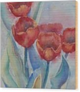 Undersea Tulips Wood Print