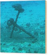 Underwater Anchor Wood Print