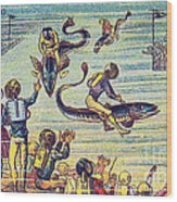 Underwater Race, 1900s French Postcard Wood Print