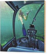 Underwater Ship In Coral Reef Wood Print