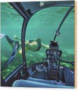 Underwater Submarine Woman Wood Print